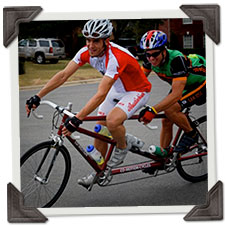 Tandem Bicycling pairs in action